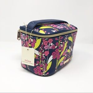 Trina Turk Blue and Pink Floral Cosmetic Case